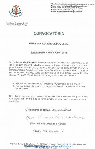 Convocatória da Mesa Assembleia Geral 30 Abril 2019