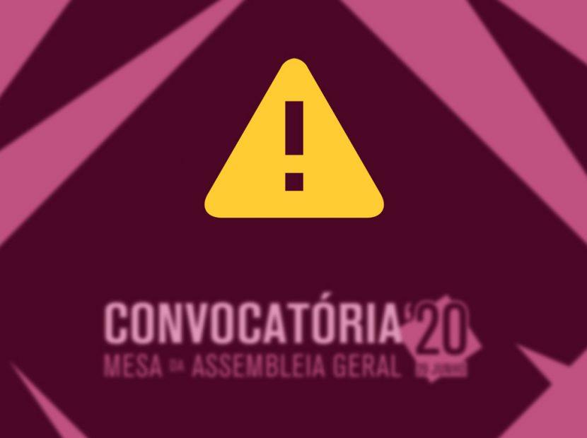 Cancelamento Convocatoria Assembleia 2020